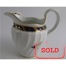 SOLD Worcester Circular Shanked Milk Jug, Blue and Gilt Decoration with 'Bluebell pattern', c1795 SOLD