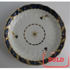 SOLD Worcester Circular Shanked 'Bread and Butter' or 'Cake' Plate, Blue and Gilt Decoration with 'Bluebell pattern', c1795 SOLD
