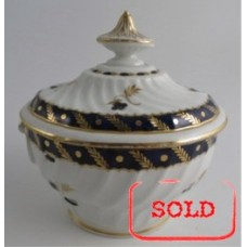 SOLD Worcester Oval Shanked Sucrier and Cover, Blue and Gilt Decoration with 'Bluebell pattern', Body repaired with staples, c1795 SOLD