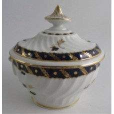Worcester Oval Shanked Sucrier and Cover, Blue and Gilt Decoration with 'Bluebell pattern', Body repaired with staples, c1795