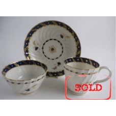 SOLD Worcester Oval Shanked Trio, Blue and Gilt Decoration with 'Bluebell pattern', c1795 SOLD
