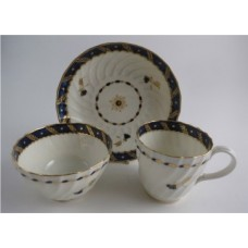 Worcester Oval Shanked Trio, Blue and Gilt Decoration with 'Bluebell pattern', c1795