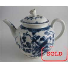 SOLD First Period Worcester Teapot, Cover with Flower Finial, Painted Underglaze Blue with the 'Mansfield' Pattern, c1765-75 SOLD