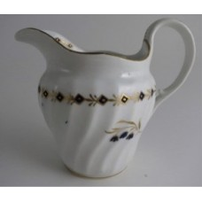 'Barr' Worcester Circular Shanked Milk Jug, Blue and Gilt Decoration with 'Three flower sprig' pattern' and Blue and Gold diamond bands, c1795
