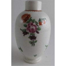 Worcester Tea Canister, Floral Polychrome enamel decoration, c1775