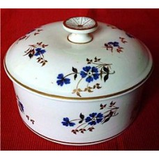 Rare Derby Butter Tub and Cover, Decorated In Charming Blue, Black and Gilt Flowers, c1800