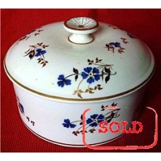 SOLD Rare Derby Butter Tub and Cover, Decorated In Charming Blue, Black and Gilt Flowers, c1800 SOLD