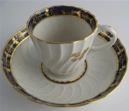 Barr Worcester Coffee Can & Saucer, Shanked Shape with Blue and Gilt Border and Gilded Thistles, Scratched 'B' mark, c1795