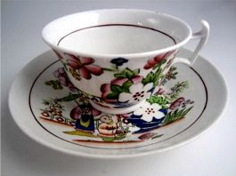 Hilditch Teacup and Saucer, decorated with 'Boy Picking Fruit', c1830