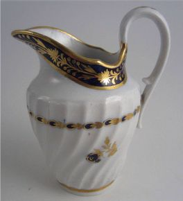 Salopian Jug, 'Waisted' Spiral Moulded Body, Underglaze Cobalt Blue with Gilt Decoration, c1795