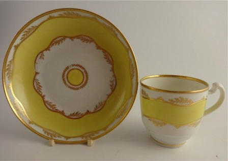Chamberlain? Worcester Coffee Cup and Saucer, Yellow Ground and Gilt decoration, c1800-10