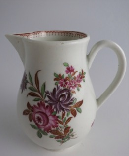 'First Period' Worcester Sparrow Beak Milk Jug, Pear Shape Body, Polychrome Floral Decoration, c1770