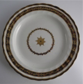 Derby Plate, Blue and Gilt Decoration, Pattern 45, Derby Puce Crown and Cross Baton Mark, c1795