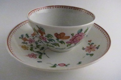 New Hall Tea Bowl and Saucer, Floral Decoration, c1795