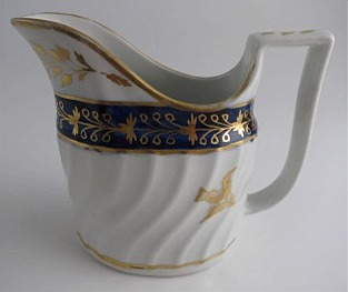 Coalport Oval Shanked Milk Jug, Blue and Gilt Decoration with 'Gilded Thistle', c1800