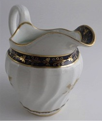 Worcester Circular Shanked Milk Jug, Blue and Gilt Decoration with 'Gilded Thistle', c1795