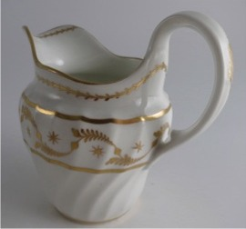 Worcester 'Flight & Barr' Period 'Waisted' Shanked Jug, with Delicate Gilded Decoration, c1795