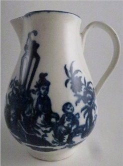 First Period Worcester Sparrow Beak Milk Jug, decorated with underglaze blue 'three flower' pattern, with a moulded lower finial, c1780