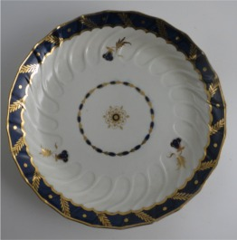 Worcester Circular Shanked 'Bread and Butter' or 'Cake' Plate, Blue and Gilt Decoration with 'Bluebell pattern', c1795