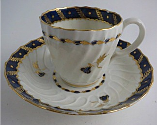 Worcester Shanked Coffee Cup and Saucer, Blue and Gilt Decoration with 'Bluebell pattern', c1795