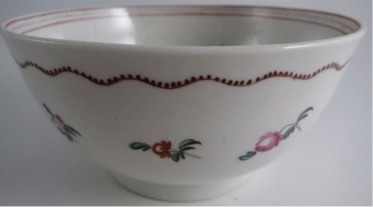New Hall Slops Bowl 'Basket of Flowers' Pattern 171, c1780-90