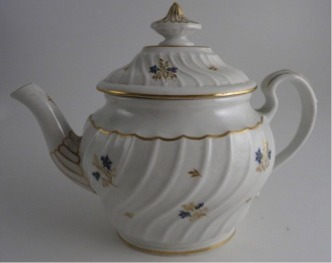 'Flight and Barr' period Worcester Oval Shanked Teapot and Cover, Blue, Pink, Green and Gilt Flower Sprig Decoration, Underglaze Scratched 'B' Mark, c1795