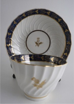 Barr Worcester Tea Bowl & Saucer, Shanked Shape with Blue and Gilt Border and Gilded Thistles, Scratched 'B' mark, c1795