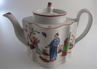 New Hall silver shaped teapot, 'boy chasing butterfly' design, pattern N421, c1795