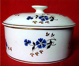 Rare Derby Butter Tub & Cover, Decorated In Charming Blue, Black & Gilt Flowers, c1800
