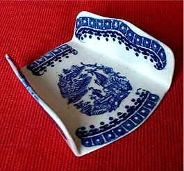 Rare Caughley Asparagus Server, Printed in Blue & White with 'The Fisherman & Cormorant' Pattern, c1785